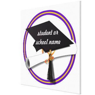 Grad Cap w/Diploma - School Colors Purple & Gold Canvas Print