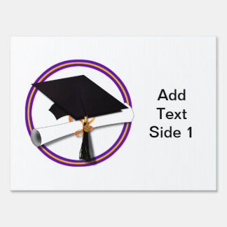 Grad Cap w/Diploma - School Colors Purple & Gold Lawn Sign
