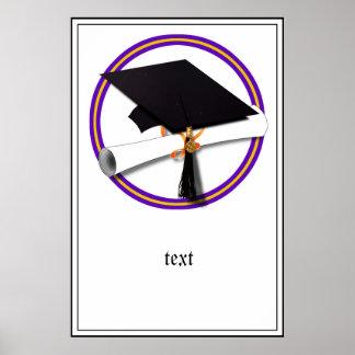 Grad Cap w/Diploma - School Colors Purple & Gold Poster