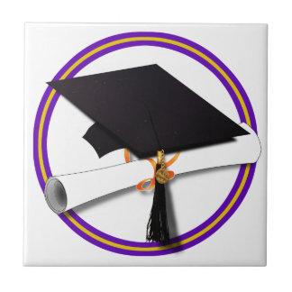 Grad Cap w/Diploma - School Colors Purple & Gold Tile