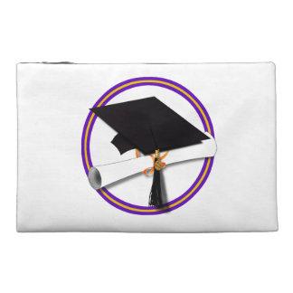 Grad Cap w/Diploma - School Colors Purple & Gold Travel Accessories Bag
