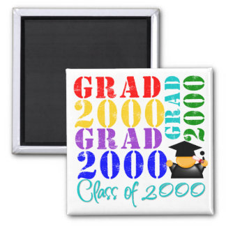 Grad  Class of 2000 2 Inch Square Magnet