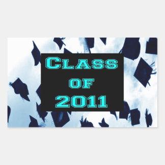 Grad Class of 2011 Cap Toss Aqua Sticker Seal