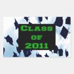 Grad Class of 2011 Cap Toss Green Sticker Seal