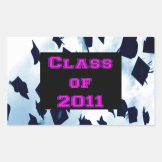 Grad Class of 2011 Cap Toss Pink Sticker Seal