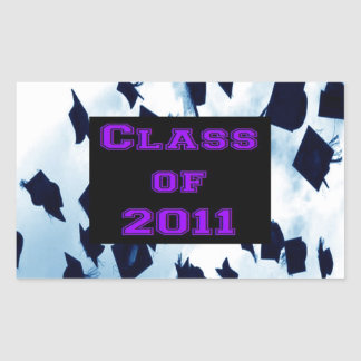 Grad Class of 2011 Cap Toss Purple Sticker Seal