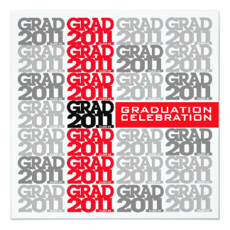 Grad Class Of 2011 Party Invitation Red 02B