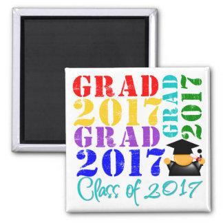 Grad  Class of 2017 2 Inch Square Magnet