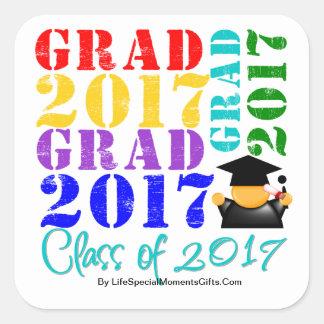 Grad  Class of 2017 Square Sticker