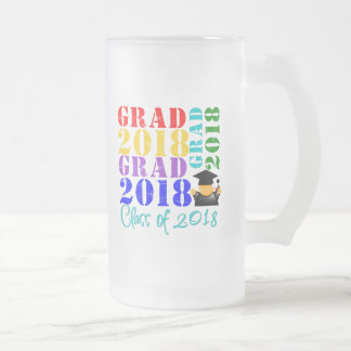 Grad  Class of 2018 16 Oz Frosted Glass Beer Mug