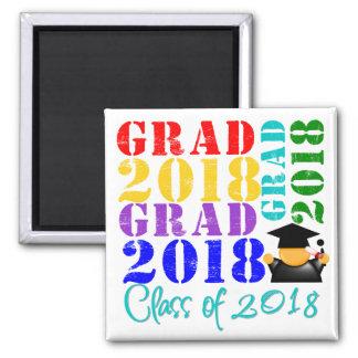 Grad  Class of 2018 2 Inch Square Magnet