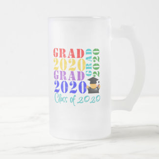 Grad  Class of 2020 16 Oz Frosted Glass Beer Mug