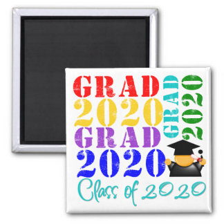 Grad  Class of 2020 2 Inch Square Magnet