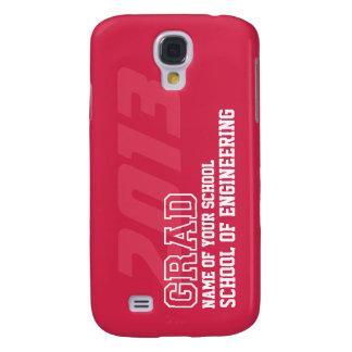 GRAD crimson red white school year name graduation Samsung S4 Case