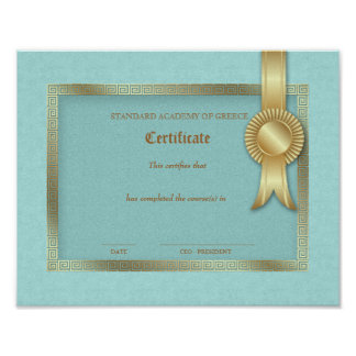 Grad Diploma Certificate Greek Keys Gold Frame Poster