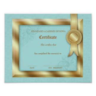Grad Diploma Certificate of Completion Gold Frame Poster