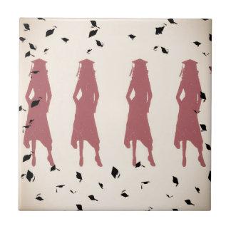 Grad Girl Silhouettes - Peach & Pink Tile