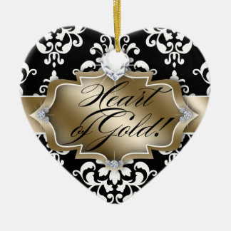 Grad Graduation Photo Picture Damask Heart of Gold Christmas Ornament