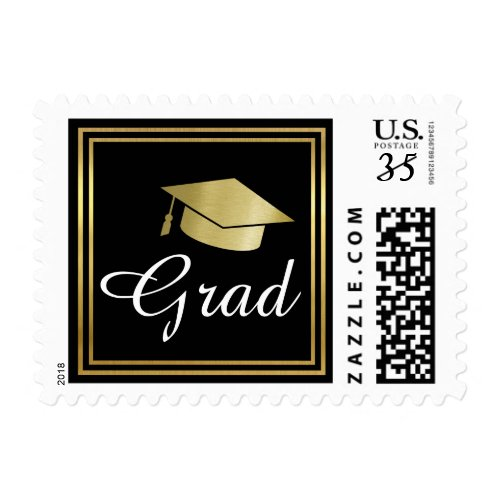 grad / graduation simple & elegant black postage