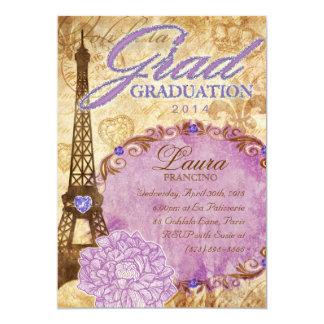 Grad Paris Eiffel Tower Vintage Flower Purple Card