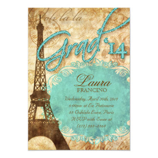 Grad Paris Invite Eiffel Tower Vintage Glitter