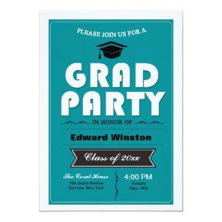 """Grad Party Invitation 5"""" X 7"""" Invitation Card"""