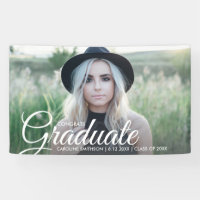 Grad Photo Beautiful Script Font Graduation Party Banner