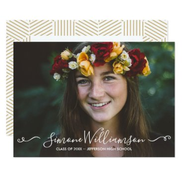Aztec Themed Grad Photo Simple Typography Graduation Party Card