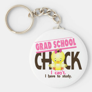 Grad School Chick 1 Basic Round Button Keychain