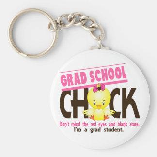 Grad School Chick 2 Basic Round Button Keychain
