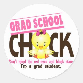 Grad School Chick 2 Classic Round Sticker
