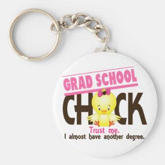 Grad School Chick 3 Basic Round Button Keychain
