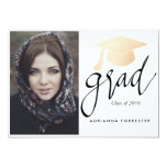 Grad Script Rose Gold Foil Graduation Hat Photo Card