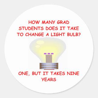 grad student round stickers