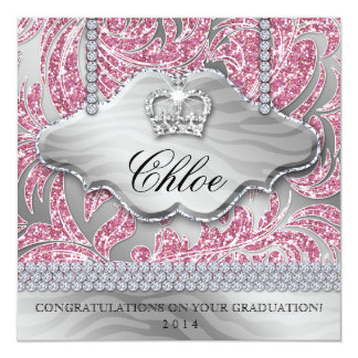 Grad Sweet 16 Party Pink Crown Glitter Leaves Card