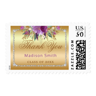 Grad Thank You Diamond Watercolor Flowers Gold Postage