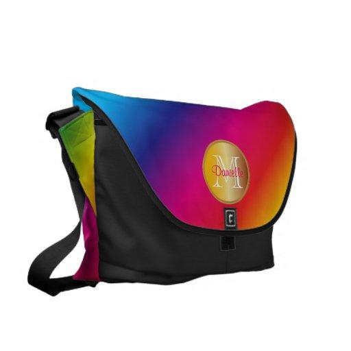 Gradación colorida viva del espectro del arco iris bolsa messenger