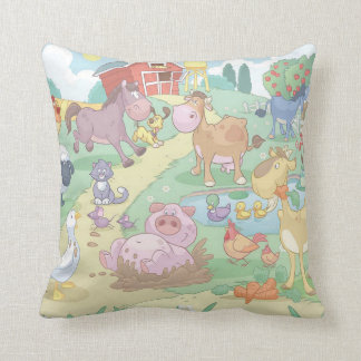 Grade A Cotton Throw Pillow/Cartoon farm Animals Throw Pillow