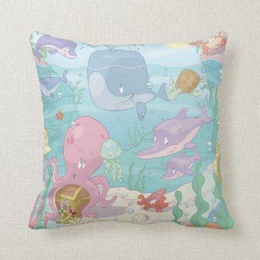 USA Themed Grade A Cotton Throw Pillow/Sea Life Throw Pillow