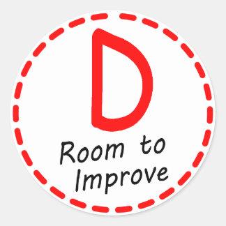 Grade D sticker...Room to Improve Classic Round Sticker