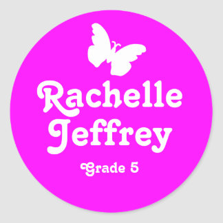 Grader school education name butterfly id sticker