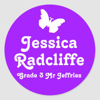 Grader school education name butterfly id sticker