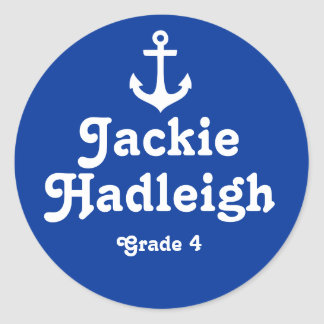 Grader school education name navy anchor sticker