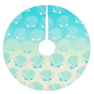 Gradient aqua blue and yellow seashell pattern brushed polyester tree skirt