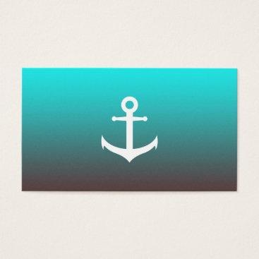 Beach Themed Gradient aqua red | white anchor business card