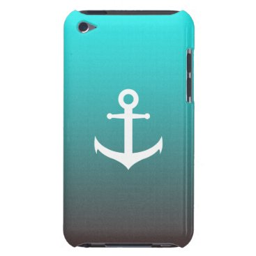 Beach Themed Gradient aqua red | white anchor Case-Mate iPod touch case
