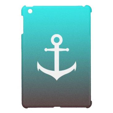 Beach Themed Gradient aqua red | white anchor cover for the iPad mini