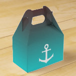 Gradient aqua red   white anchor favor box