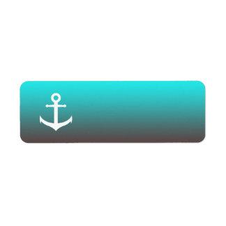 Gradient aqua red | white anchor label