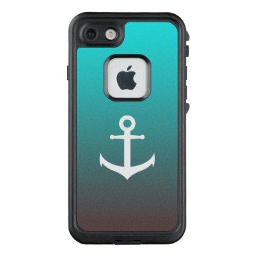 Beach Themed Gradient aqua red | white anchor LifeProof FRĒ iPhone 7 case